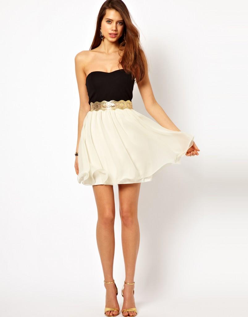 Двуцветное коктейльное платье с золотым поясом