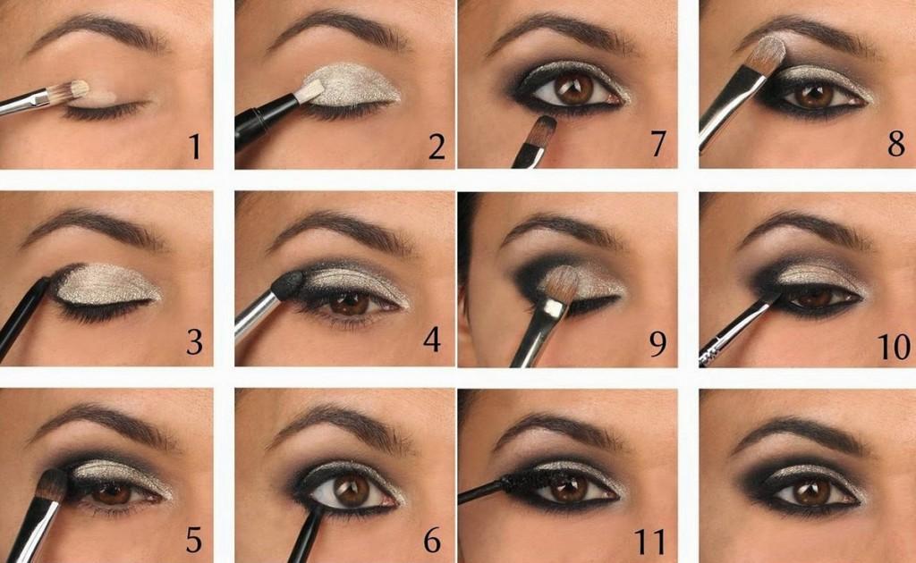 Фото урок вечернего макияжа для темно-карих глаз
