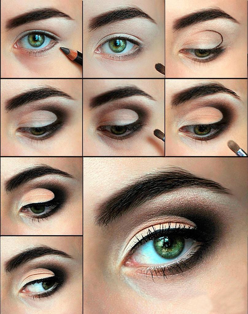 Фото урок вечернего макияжа для ярко-зеленых глаз