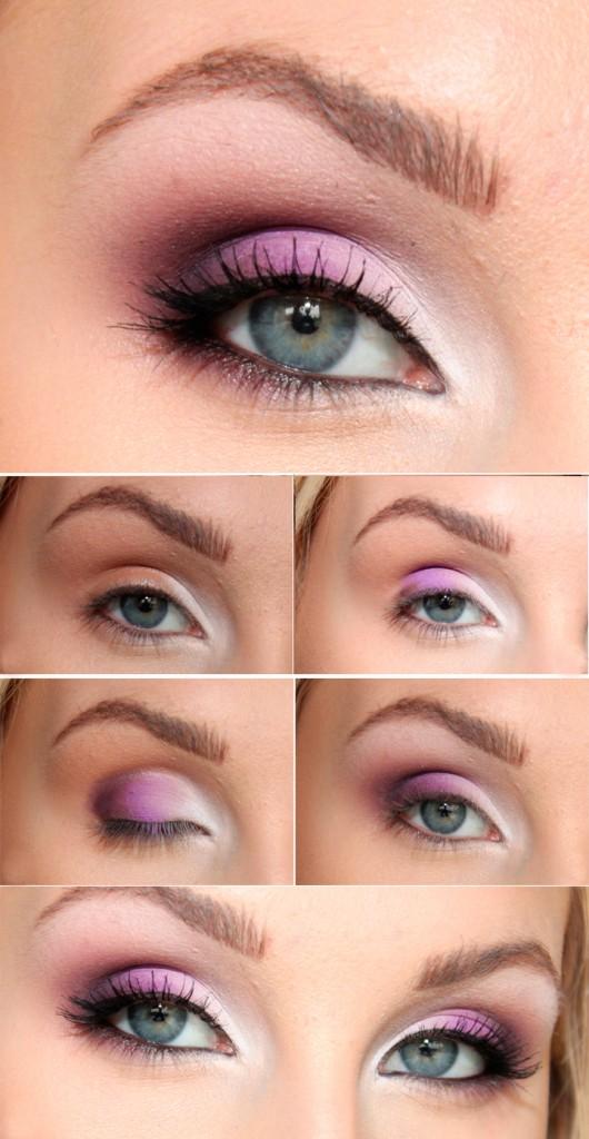 Фото урок дневного макияжа с розовыми тенями