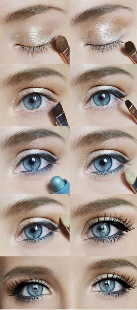 Фото урок дневного макияжа для голубых глаз