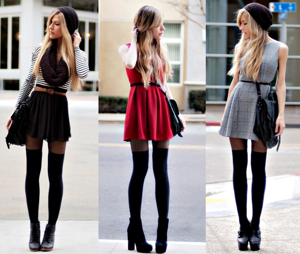 Гольфы с юбками и платьями
