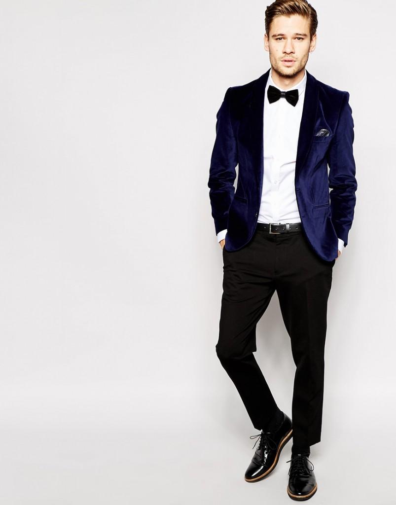 Бархатный синий мужской пиджак
