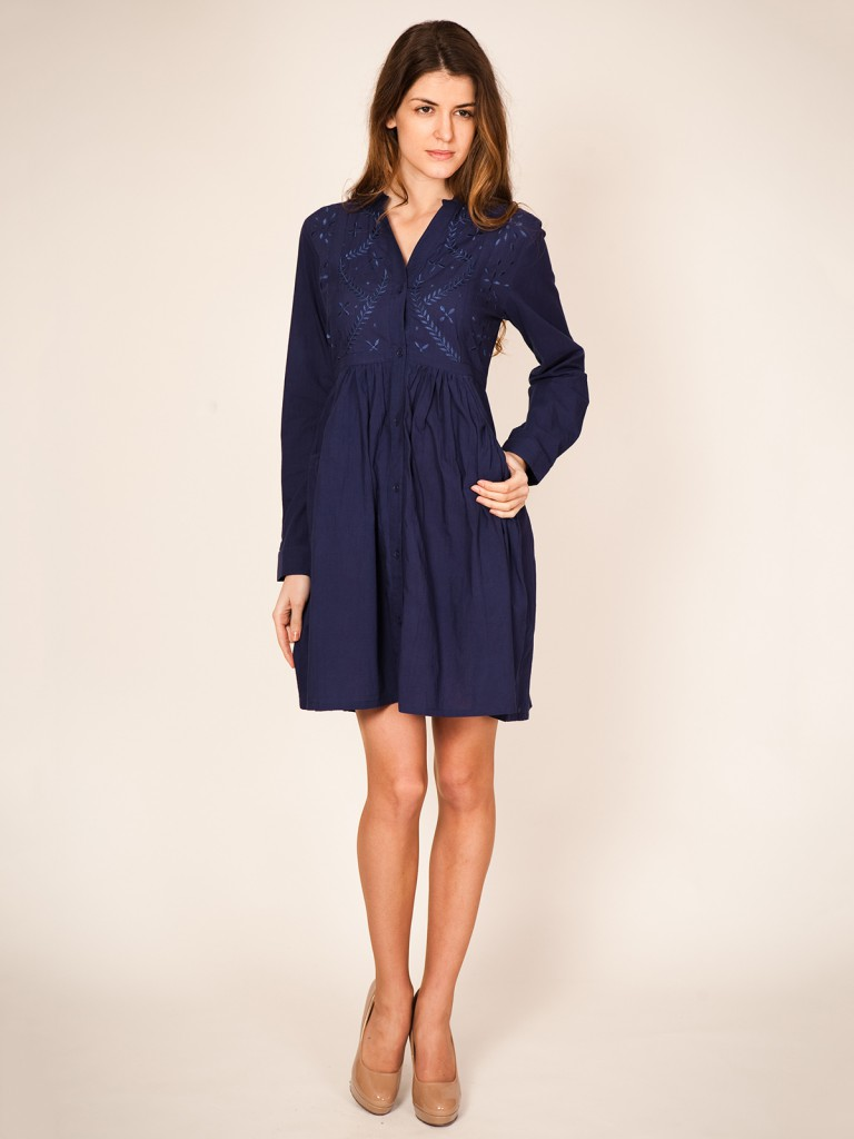 Короткое сине-фиолетовое платье