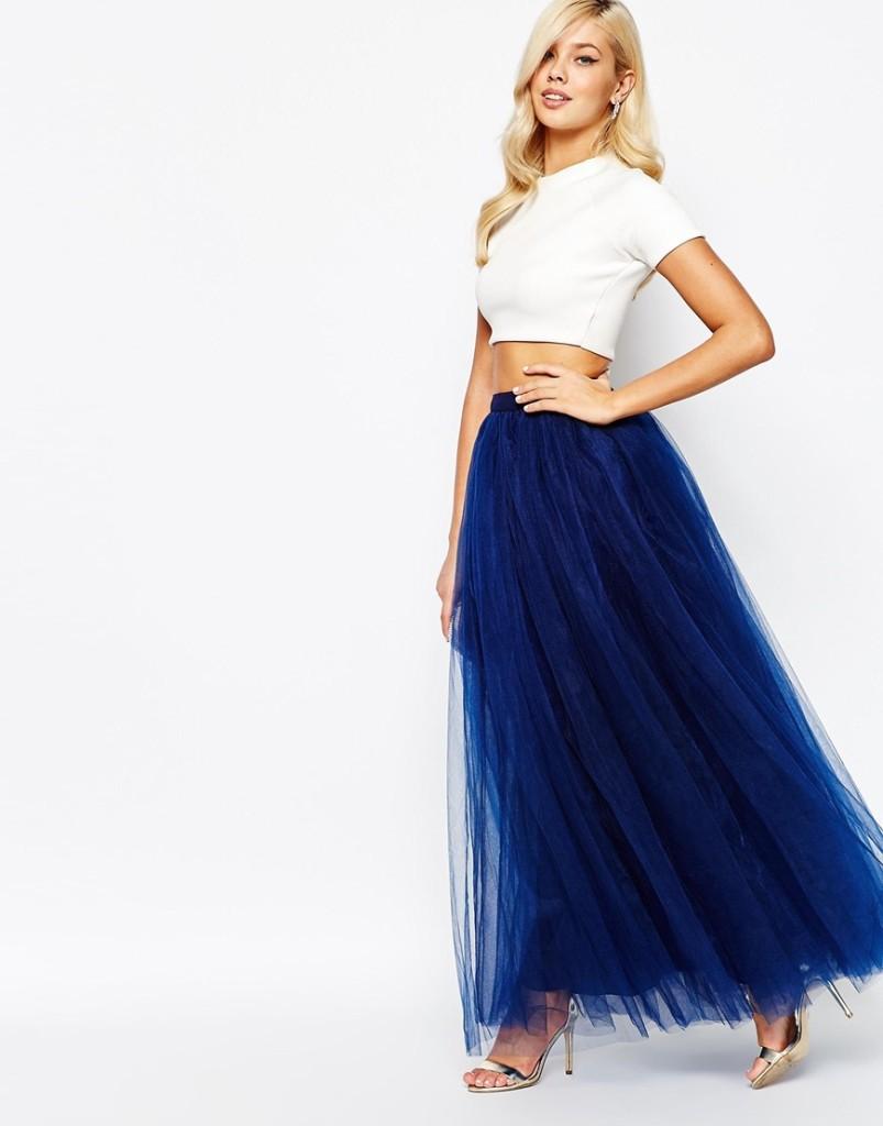 Длинная шифоновая синяя юбка