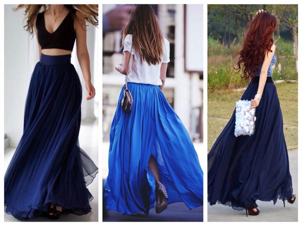 Красивые длинные синие юбки
