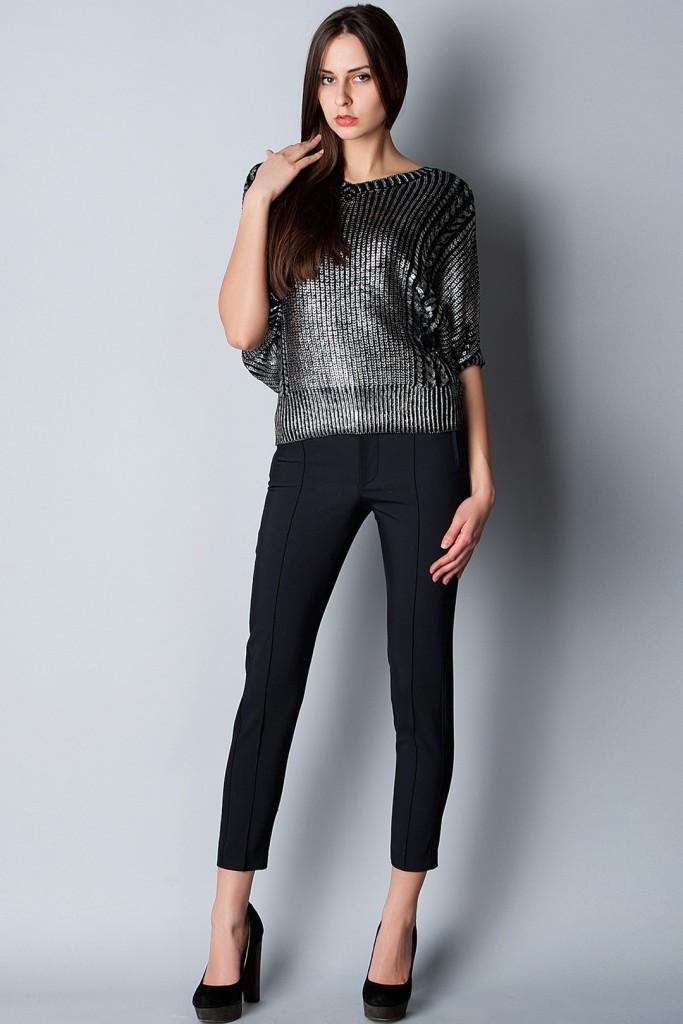 Укороченные женские черные брюки