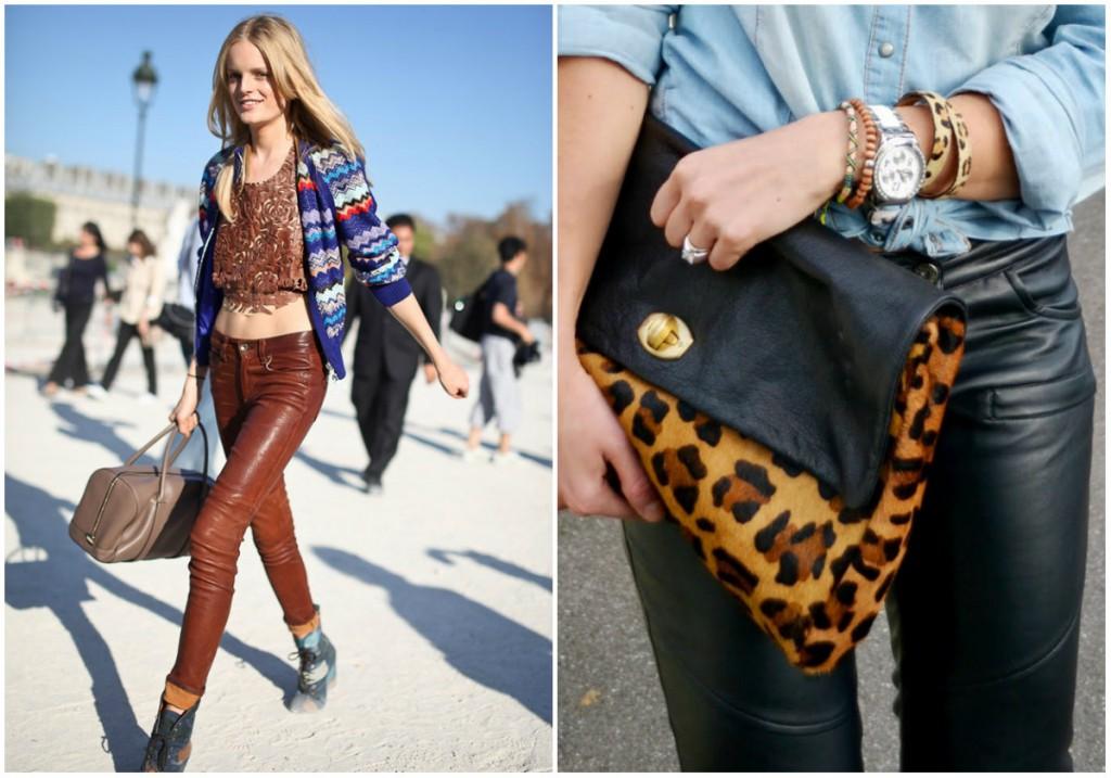 Женские кожаные брюки с модными сумочками