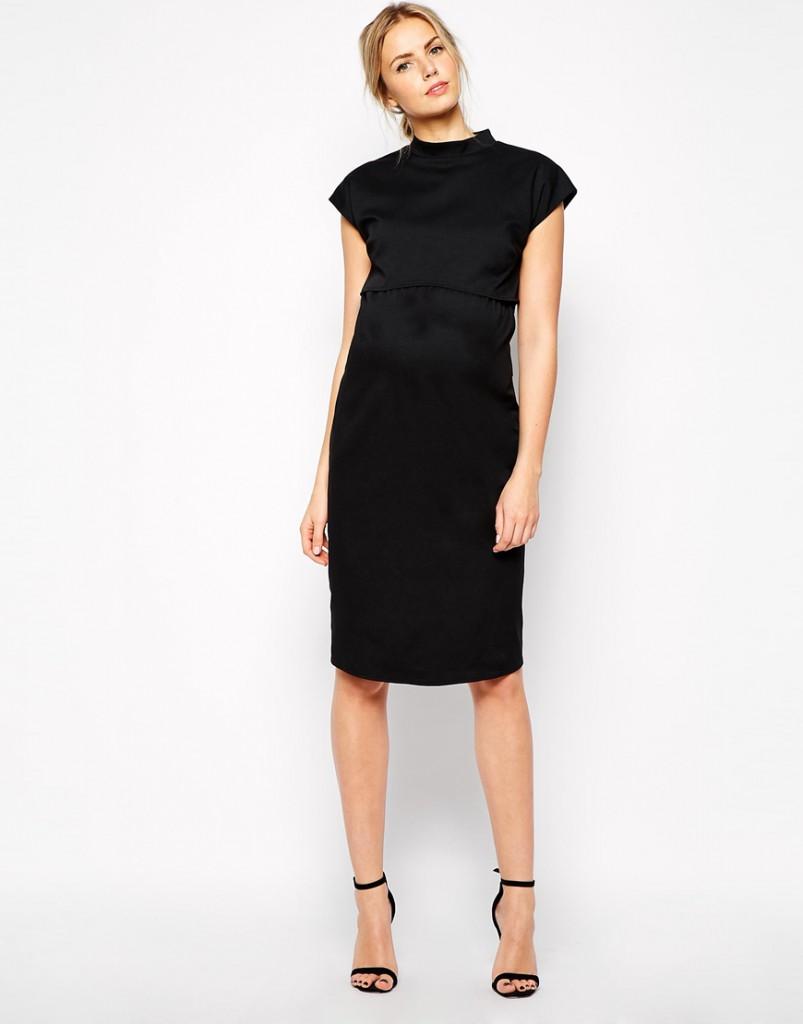 Свободное черное офисное платье