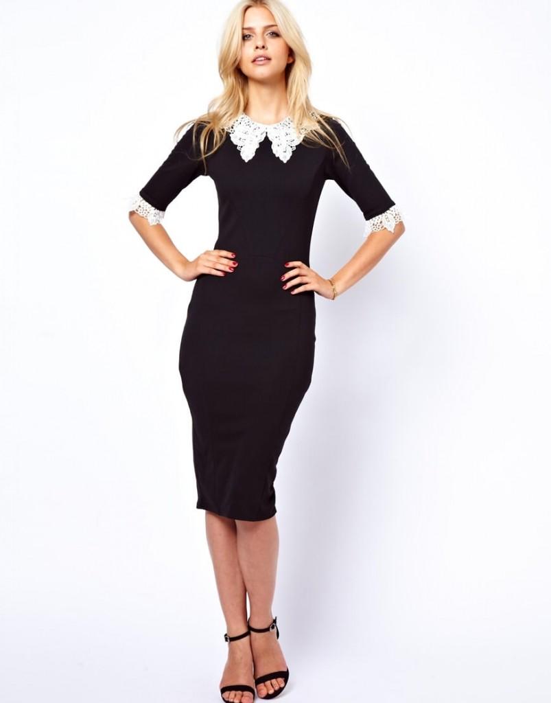 Черное деловое платье с воротником