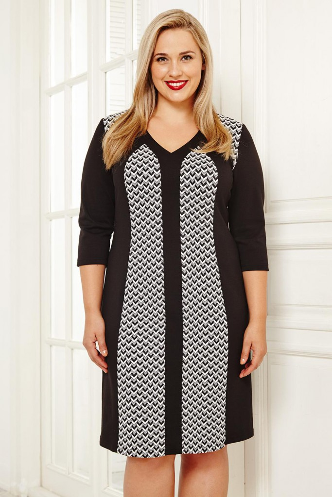 Модное черно-серое офисное платье для полных женщин