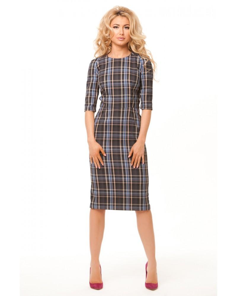 Клетчатое офисное платье-футляр