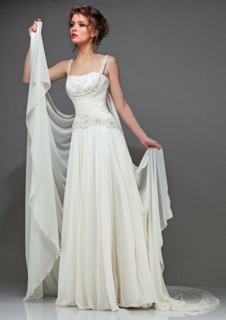 Нежное греческое свадебное платье