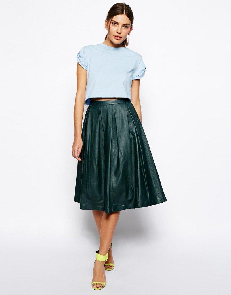 Изумрудная юбка со  складками