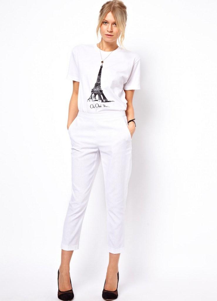 Белые модные бриджи из льна