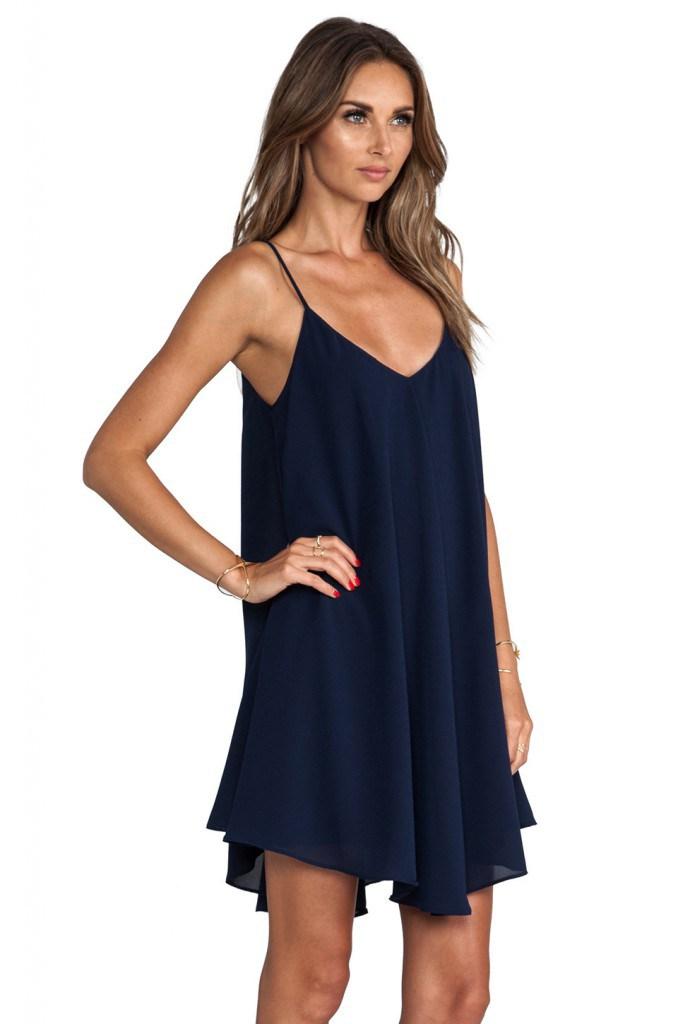 Темно-синее платье балахон