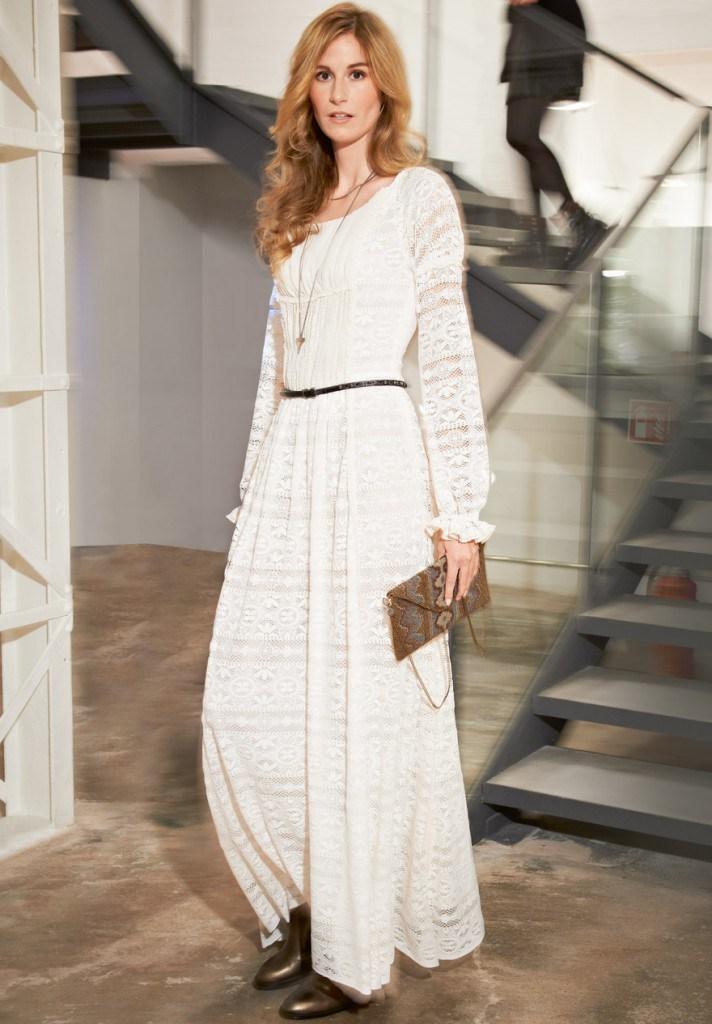 Белое платье в бохо стиле