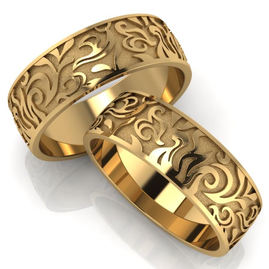 Парные обручальные кольца с орнаментом