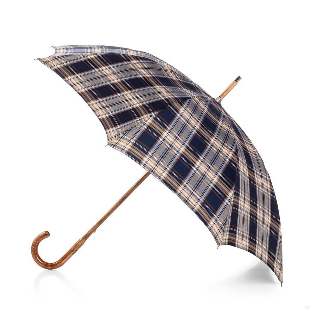 Модный светлый клетчатый мужской зонт