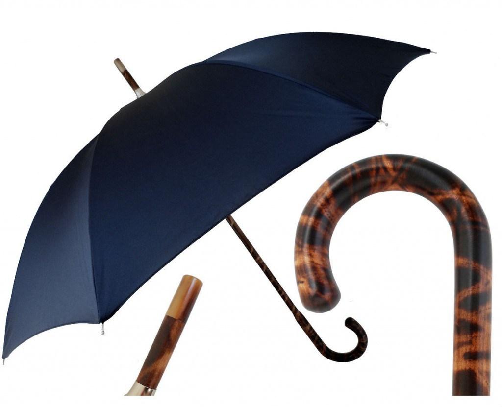 Синий мужской зонт трость