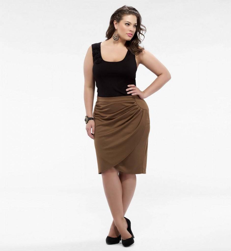Коричневая юбка-карандаш для полных женщин