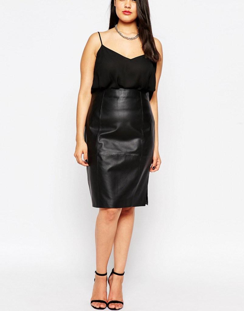 Кожаная черная юбка для полных женщин