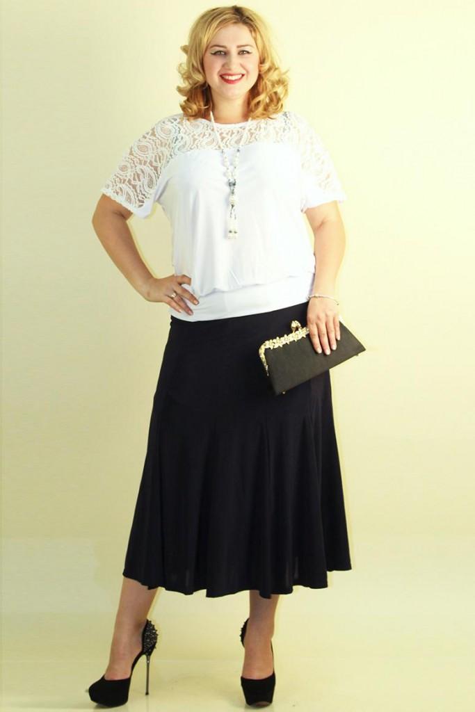 Черная юбка-годе для полных девушек