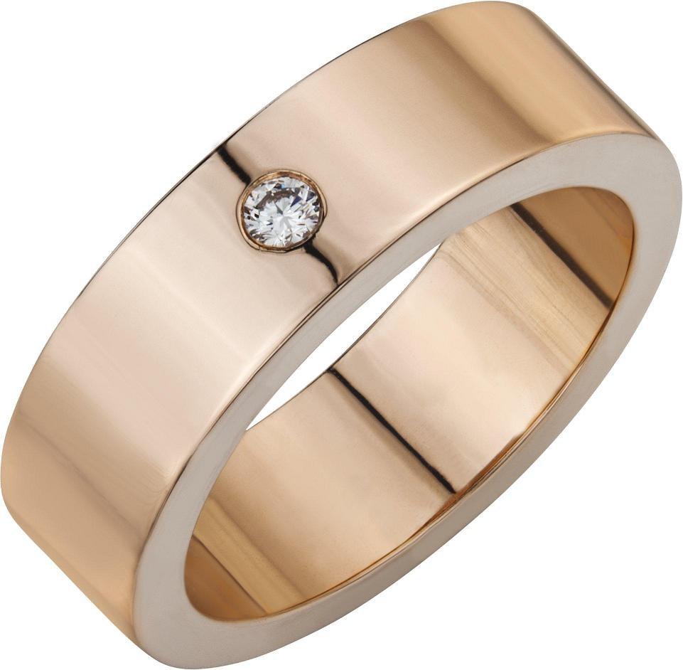Золотое обручальное кольцо с одним бриллиантом