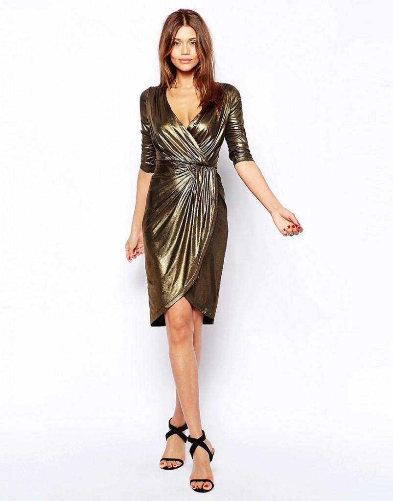 Темное золотое платье