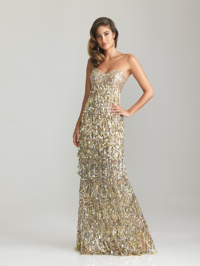 Длинное красивое золотое платье