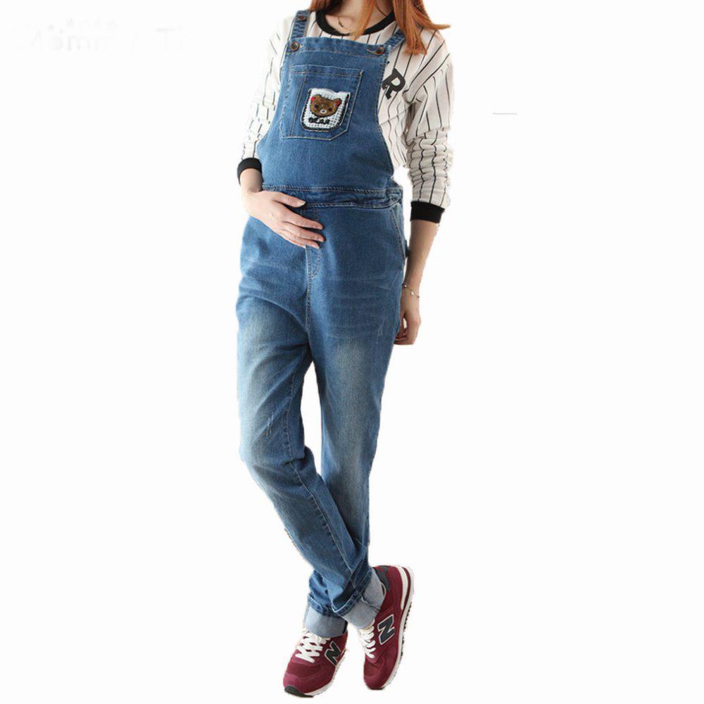 Модный джинсовый комбинезон платье для беременных