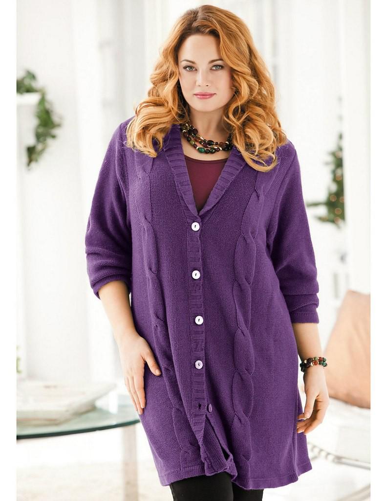 Вязаный фиолетовый кардиган для полных женщин