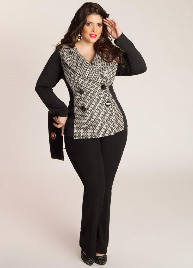 Модный костюм с черно-серым пиджаком для полных женщин