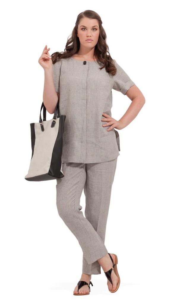 Серый летний костюм для полных женщин