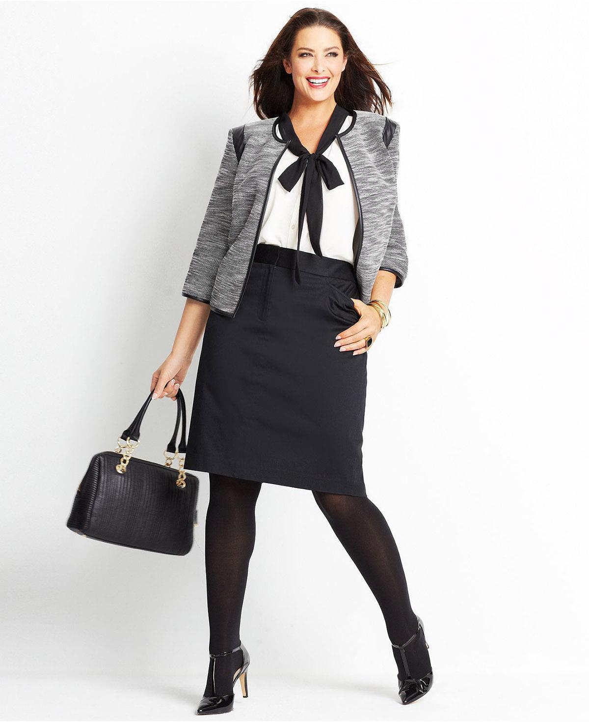 Модные костюмы для полных женщин Модный костюм с черной юбкой для полных  женщин ... 79f471c16f7