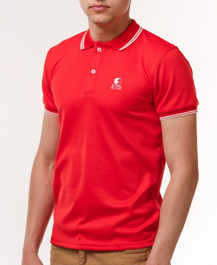Красная мужская футболка с воротником