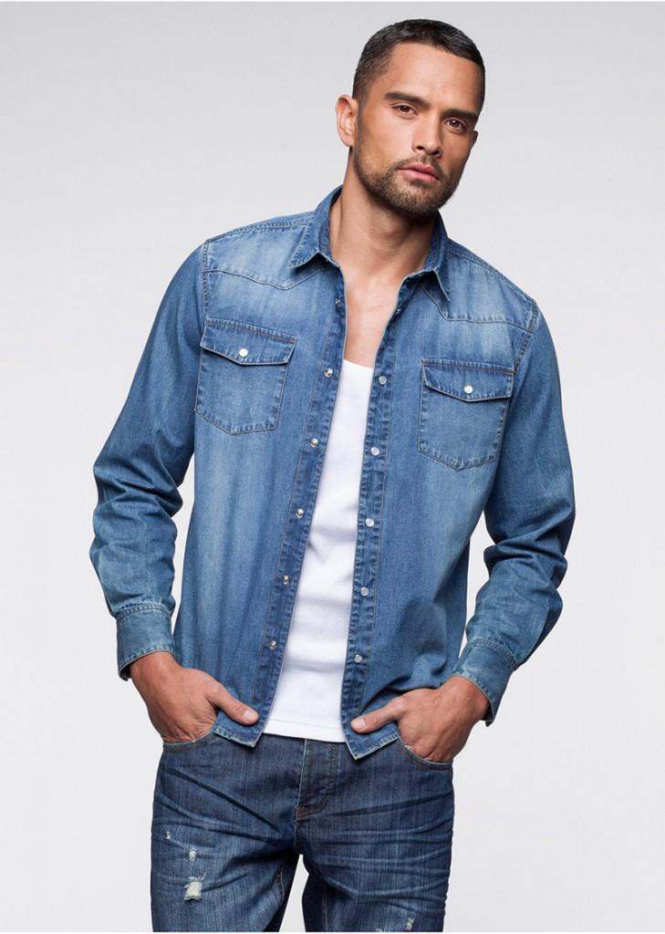 Модная мужская джинсовая рубашка