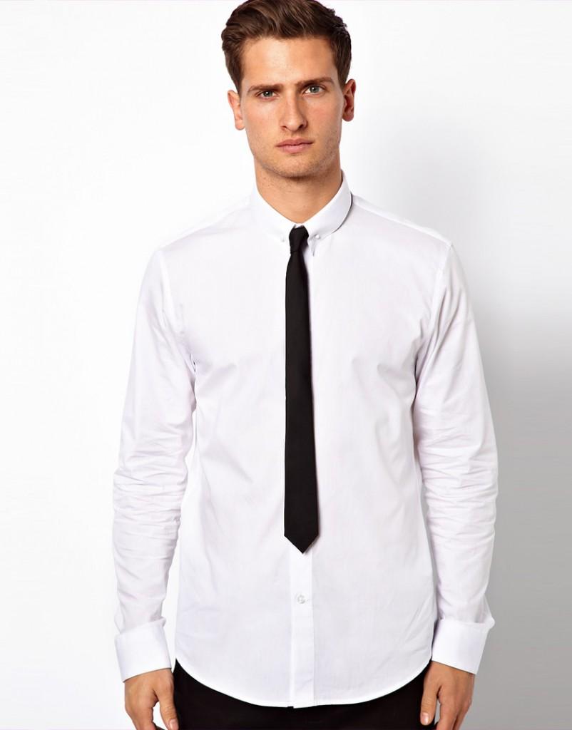 Модная мужская белая рубашка
