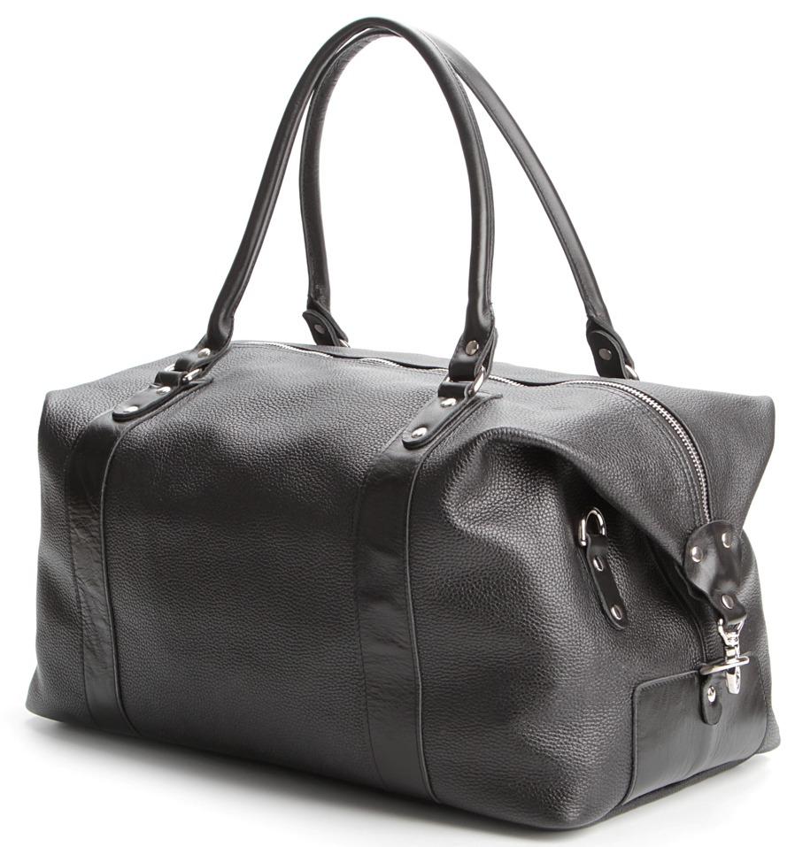 Мужская черная кожаная дорожная сумка