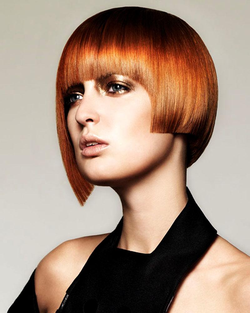 Асимметричное каре на рыжие волосы