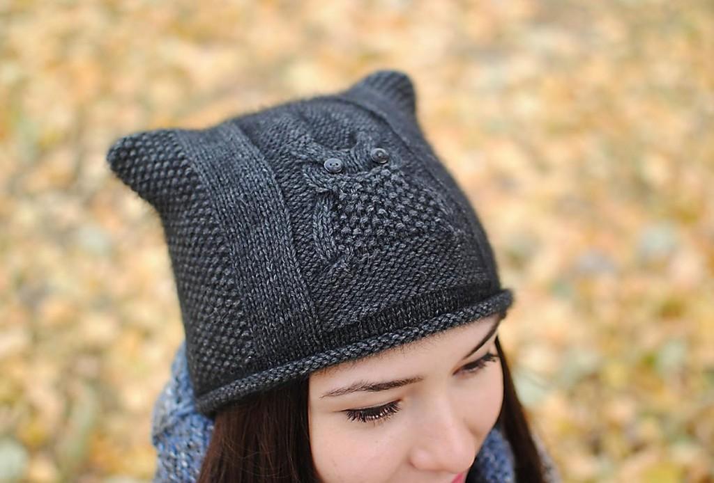 Модная женская шапка сова