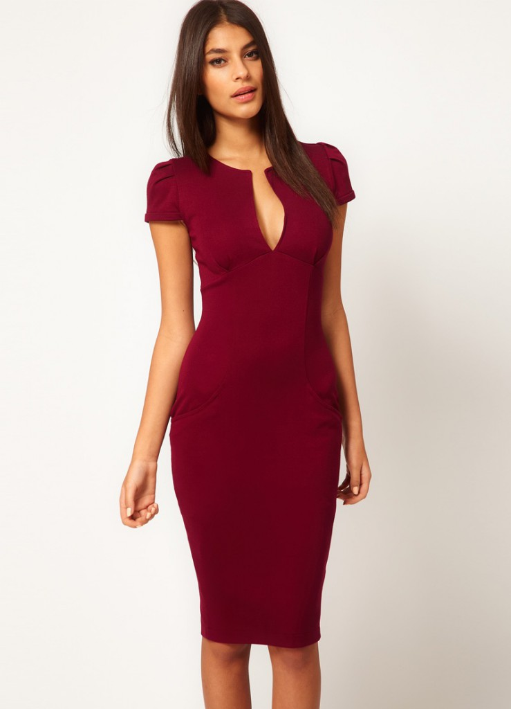 Burgundy dress for women over 40