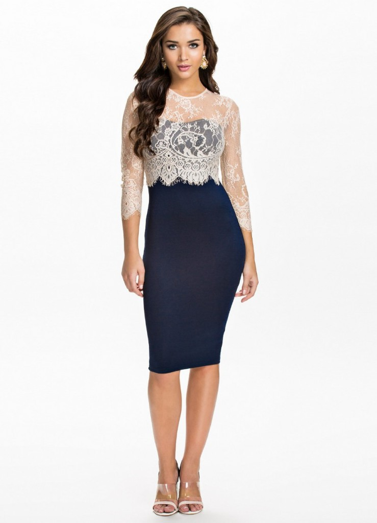 Dark dress with lace for women over 40