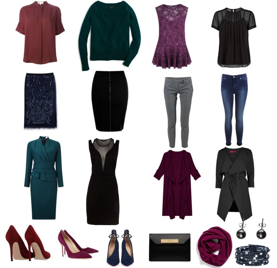 Разнообразие одежды цветотипа зима