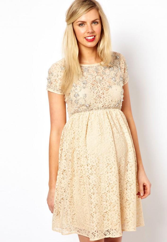 Свадебное короткое кремовое платье для беременных