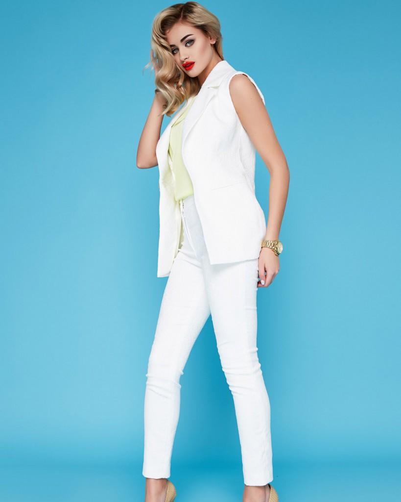 Костюмные белые узкие брюки