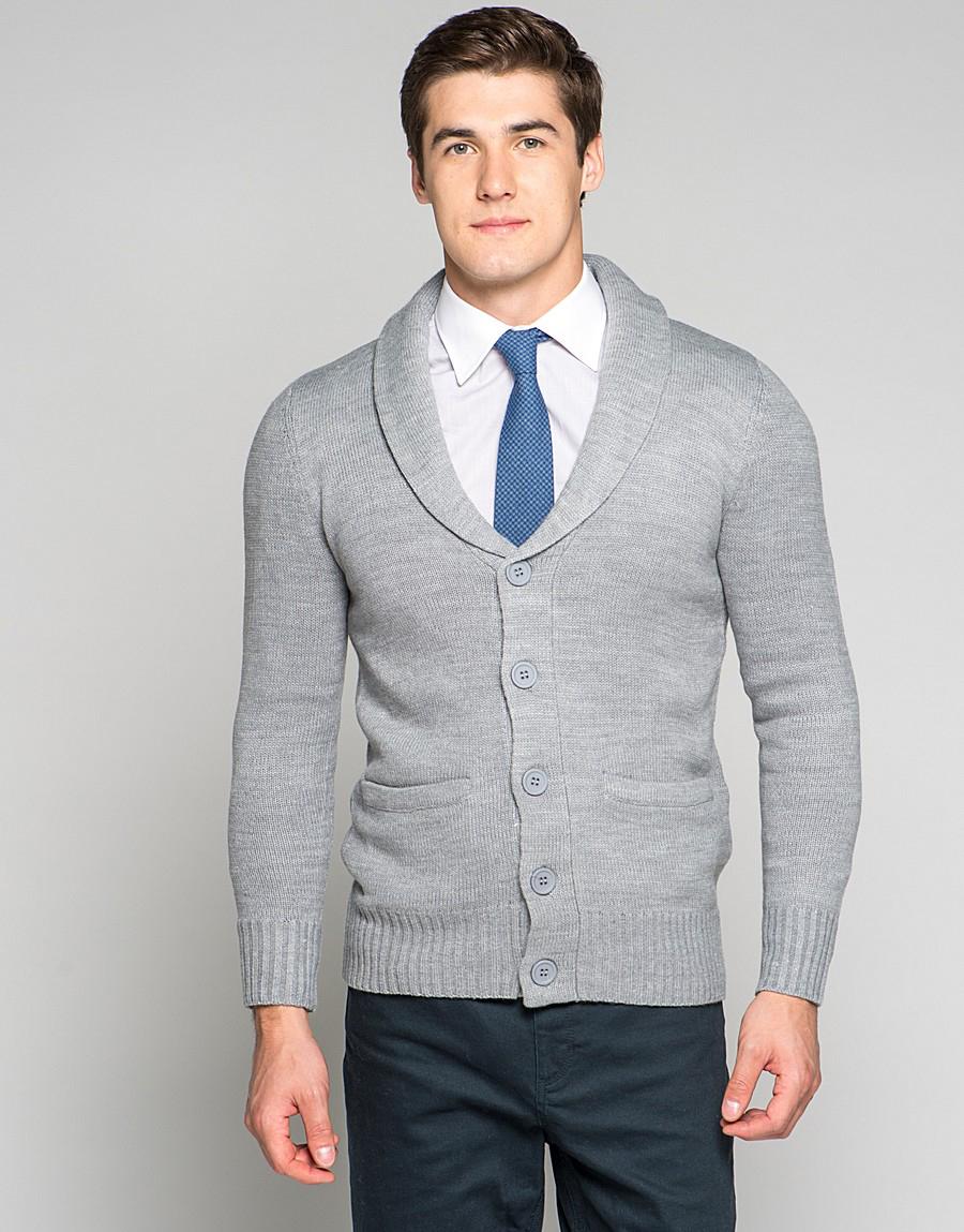 Кардиган мужской серого цвета
