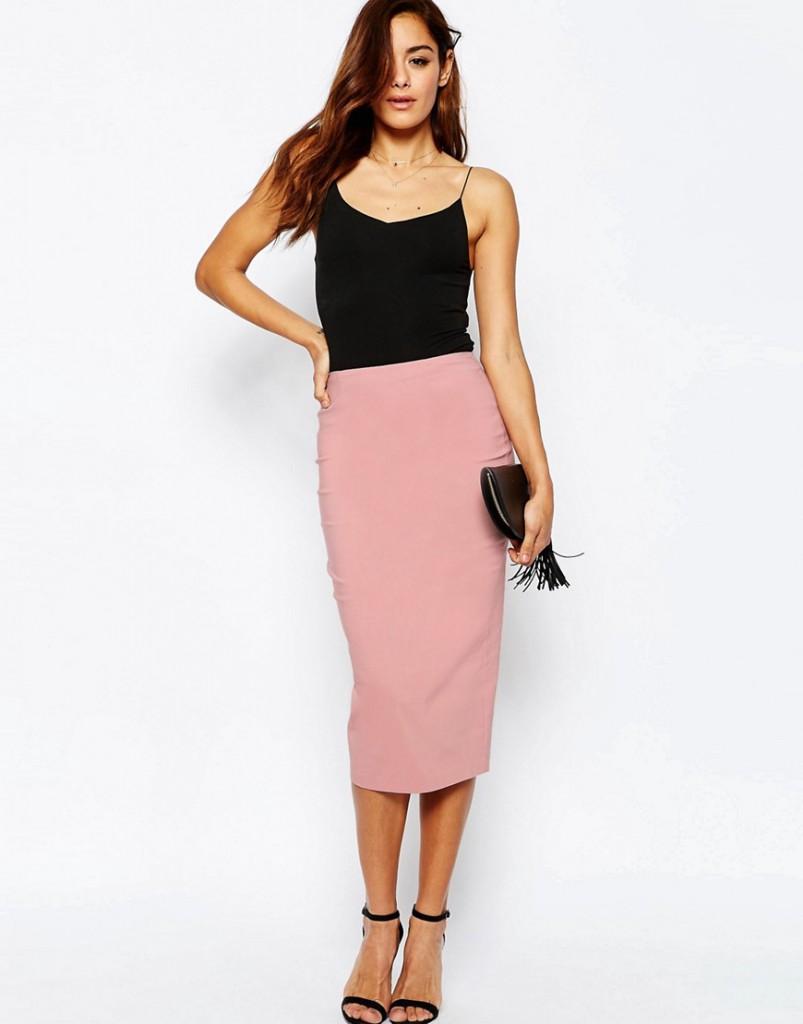 Вечерний образ с розовой юбкой и блузкой