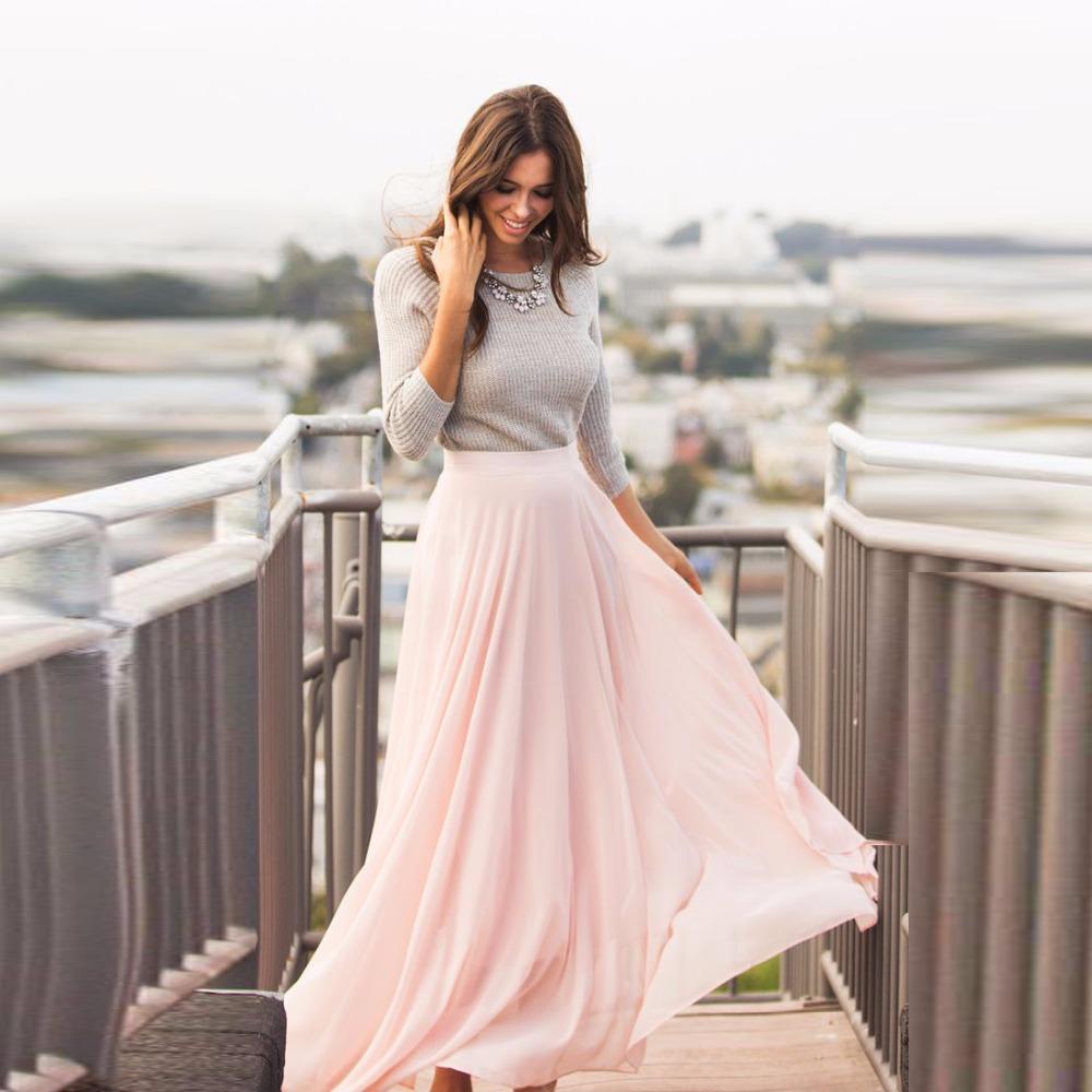 Розовая длинная юбка с блузкой