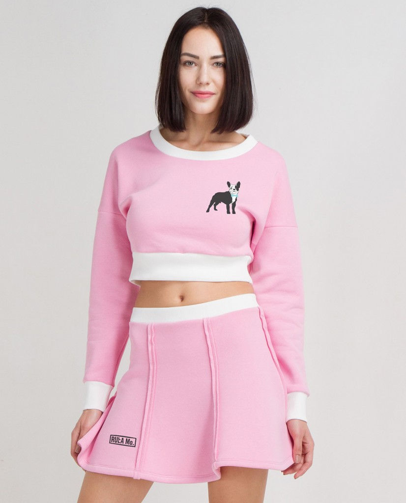 Розовая спортивная мини юбка